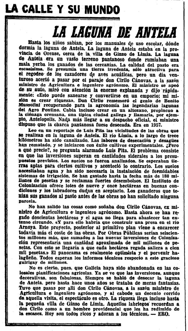 Artigo en La Vanguardia (18-09-1968) sobrecostes desecación