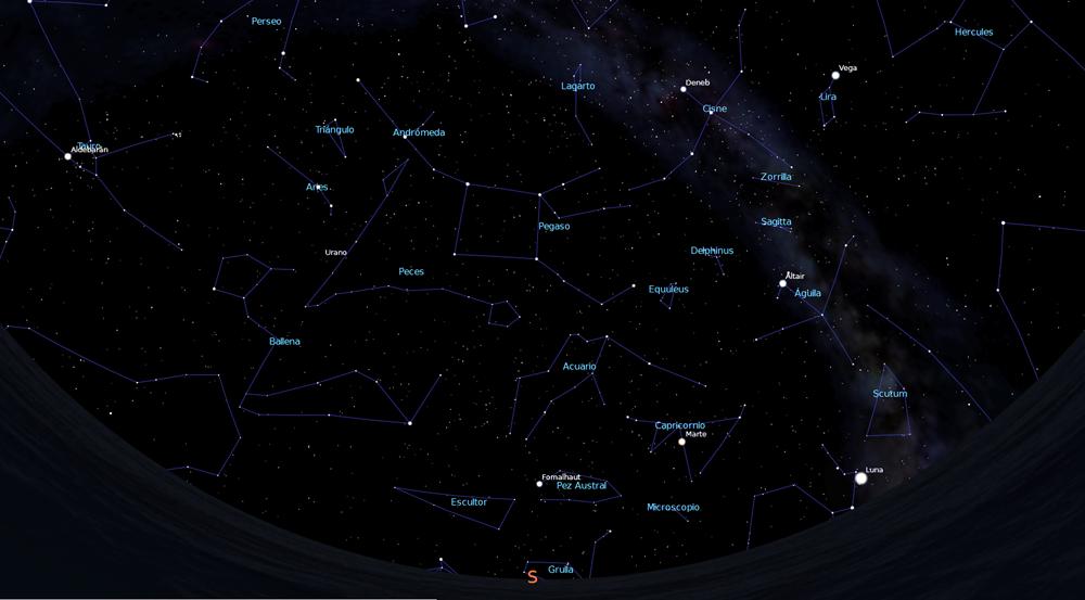 Imaxe do ceo ás 24:00 h do día 15 de outubro de 2018 mirando cara ao Sur