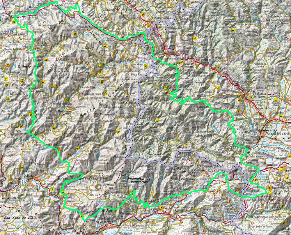 Mapa del PN do Courel e Enciña da Lastra proposto por SGHN