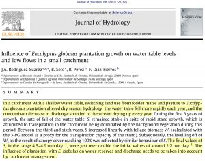 Journal of Hydrology, 396 (2011) 321-326.